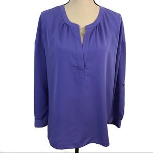Vince Camuto Purple Roll Up Sleeve Loose Blouse